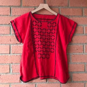 Vintage Red Boho Embroidered Top | M